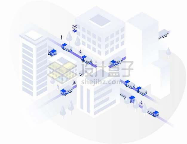 2.5D风格灰白色的城市建筑道路和货车物流快递行业png图片素材