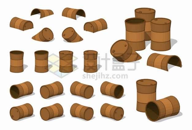 各种生锈的铁桶石油桶汽油桶png图片素材