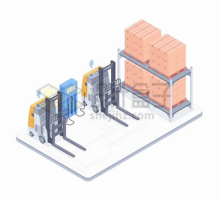正在充电的自动电叉车和堆放得整整齐齐的货物png图片免抠矢量素材