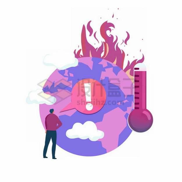 高温的地球和温度计全球气候变暖主题插画png免抠图片素材