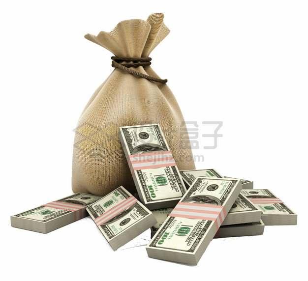 一个钱袋子麻布袋和大量的美元钞票png图片素材