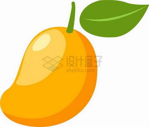 卡通带叶子的黄色芒果水仙芒png图片素材