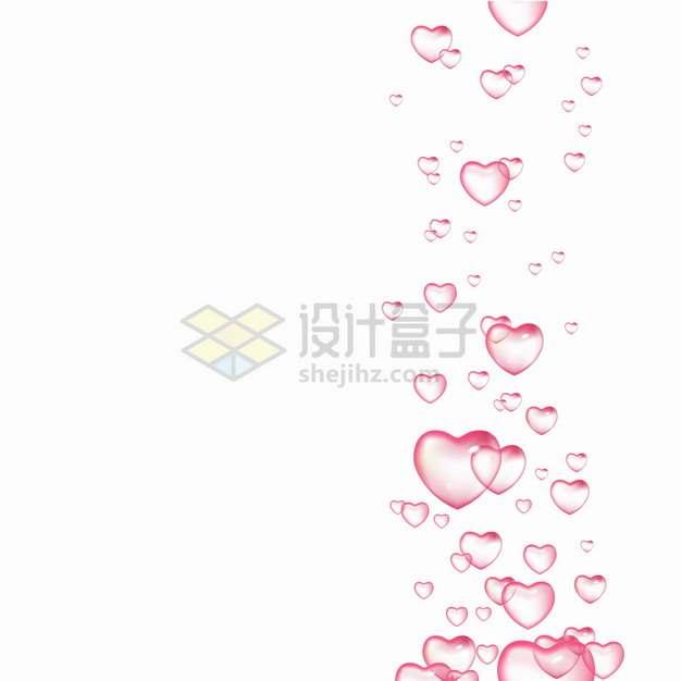 粉红色心形气泡水泡效果png图片素材