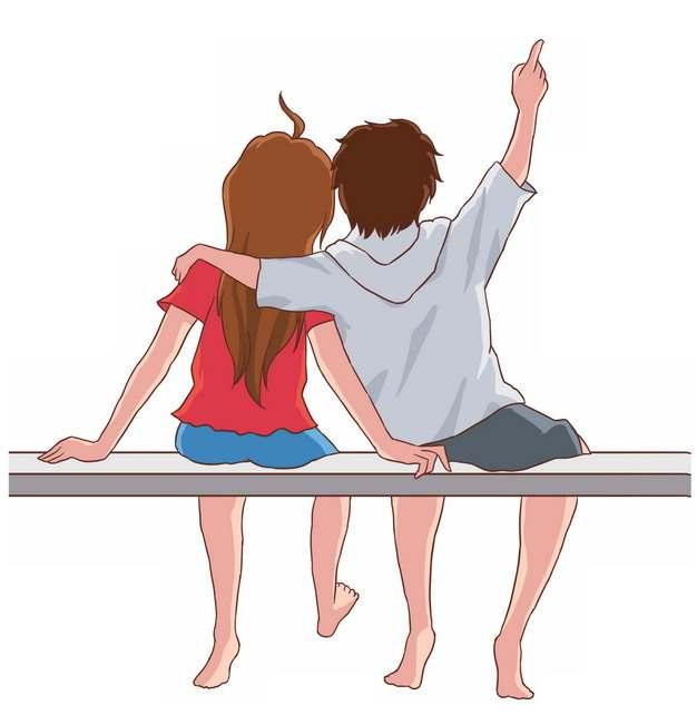 搂在一起看向远方的卡通情侣背影手绘插画png图片素材
