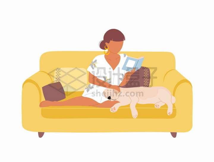 盘腿坐在沙发上一边看书一边撸狗的女人手绘扁平插画png图片免抠矢量素材