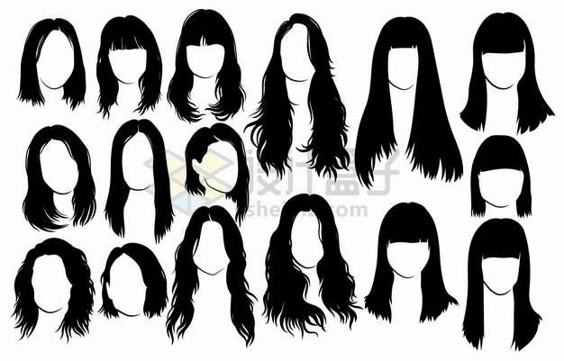 16款卷发直发齐刘海等女性发型头发png图片素材