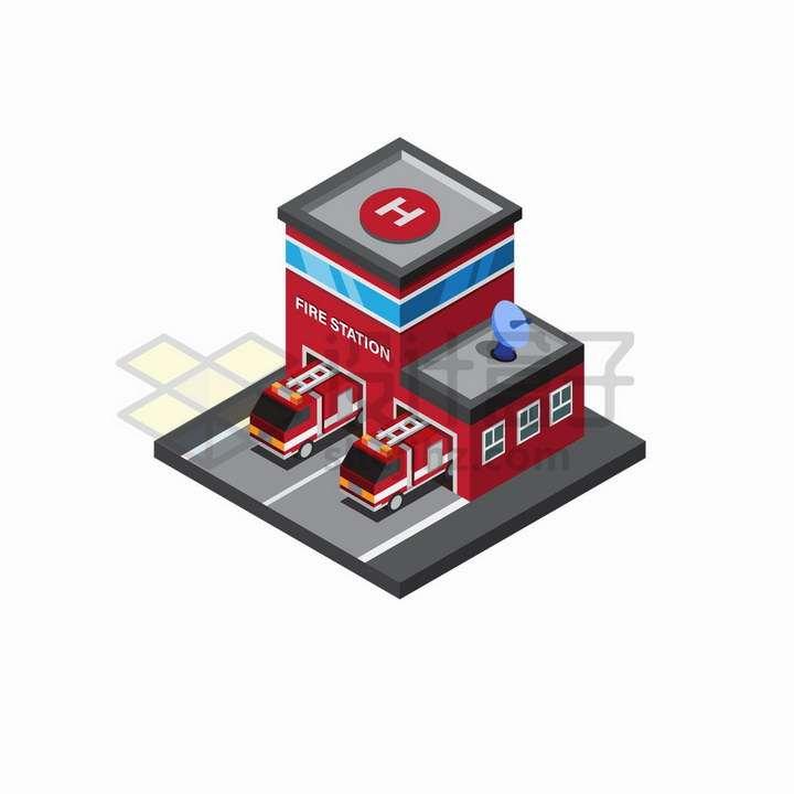 2.5D风格消防站和消防车png图片免抠矢量素材