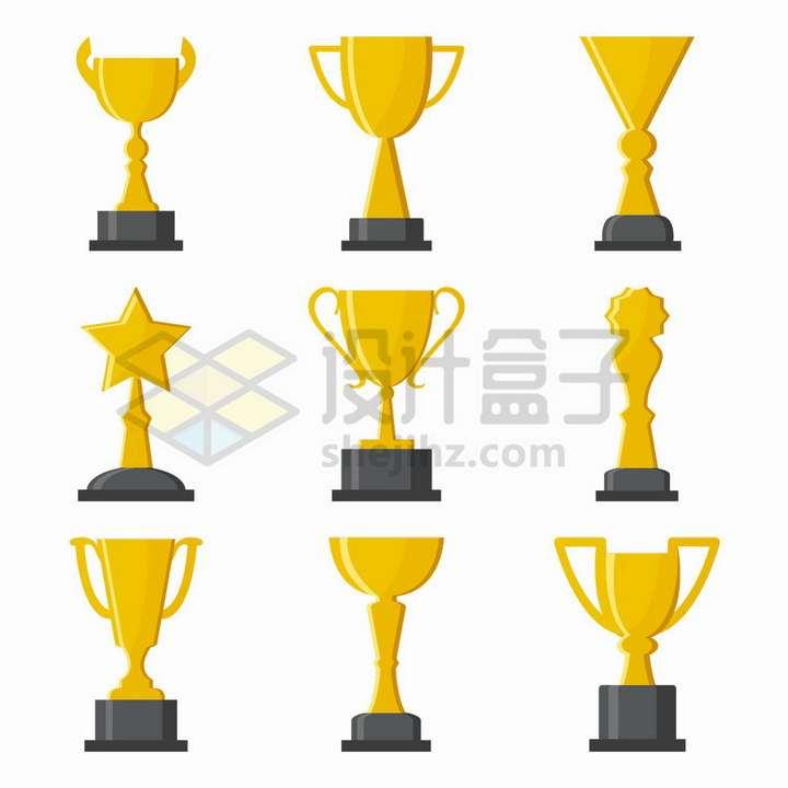 9款扁平化风格的金杯奖杯png图片免抠矢量素材