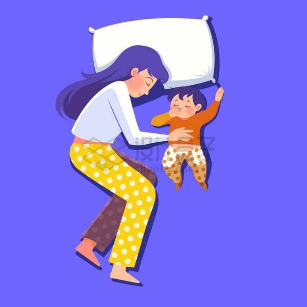 卡通妈妈抱着宝宝一起睡觉母亲节彩绘插画png图片素材