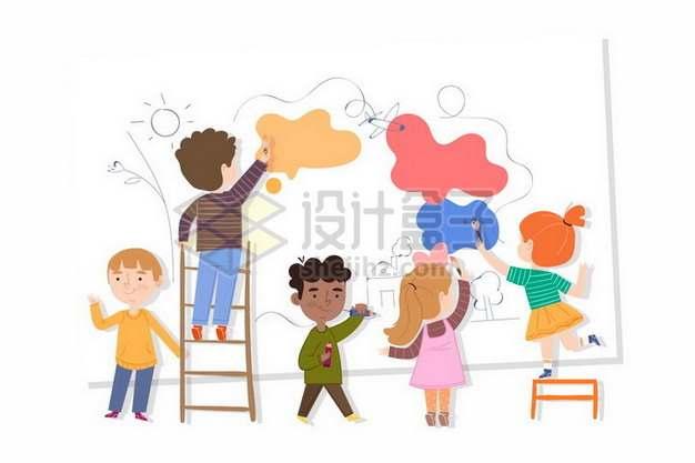 卡通儿童在墙上画画990097png图片素材