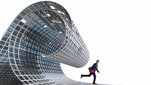 抽象钢铁海啸金融海啸和逃命的商务人士png图片素材 商务职场-第1张