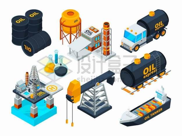 石油桶油罐车海上钻井平台石油开采炼油厂油轮等石油工业png图片素材