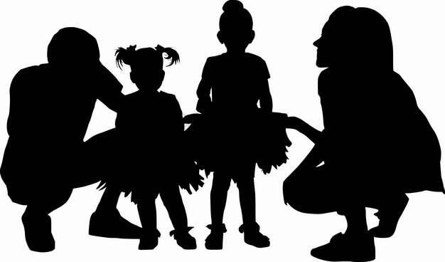 蹲在地上和两个女儿交谈的年轻爸爸妈妈人物剪影国际家庭日png图片素材