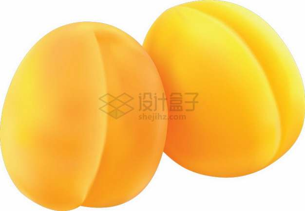 两颗黄冠桃黄桃png图片素材