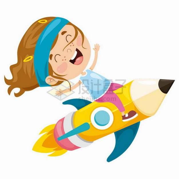 卡通小女孩坐在卡通小火箭上png图片免抠矢量素材