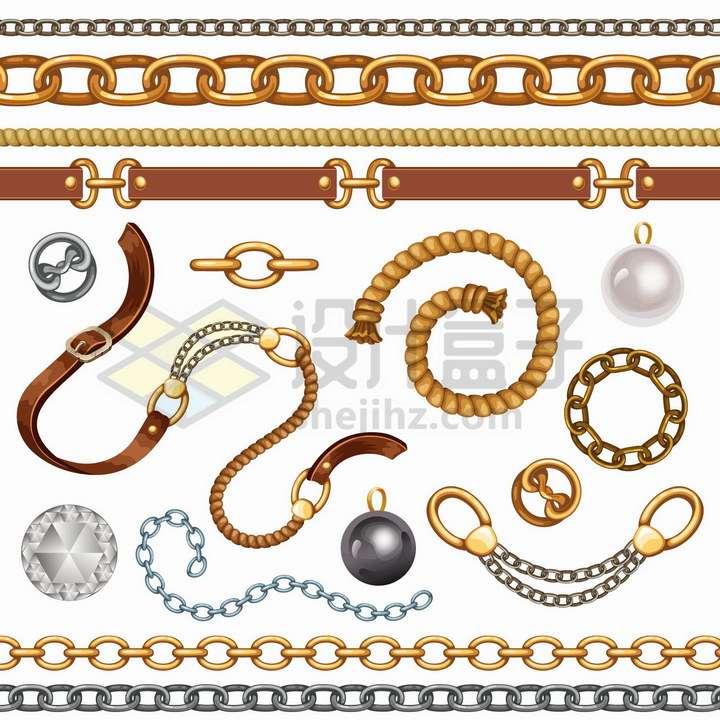 各种手链项链吊坠皮带和链条png图片免抠矢量素材
