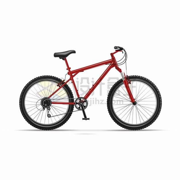 红色山地自行车侧面图png图片素材