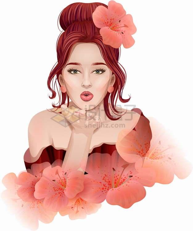 美丽的女孩和红色的鲜花彩绘插画png图片素材