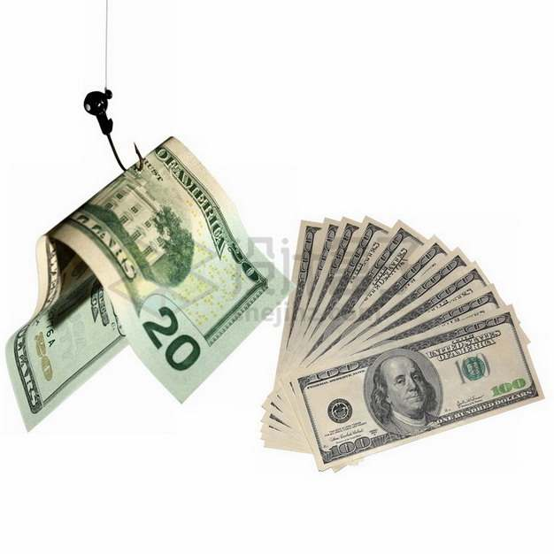 鱼钩吊起美元钞票纸币象征了网络钓鱼png图片素材