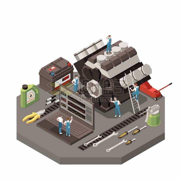 2.5D风格正在检修汽车发动机的维修工人png图片素材