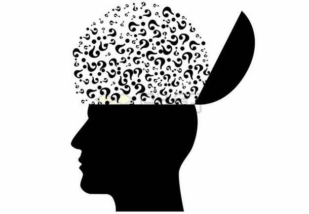 打开的人体头部脑袋剪影中的各种问号图案png图片素材