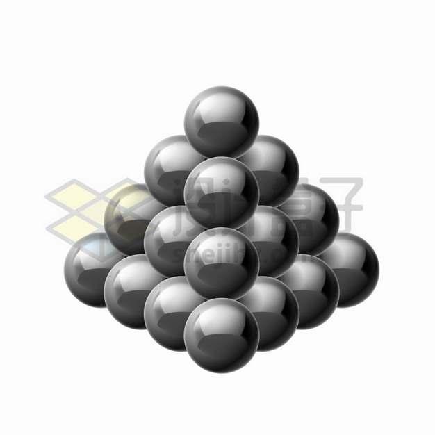 黑色磁力球巴克球组成的金字塔形png图片素材