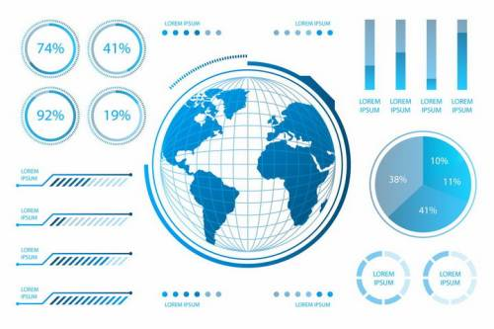 蓝色世界地图地球仪和各种酷炫的PPT数据图表png图片免抠矢量素材