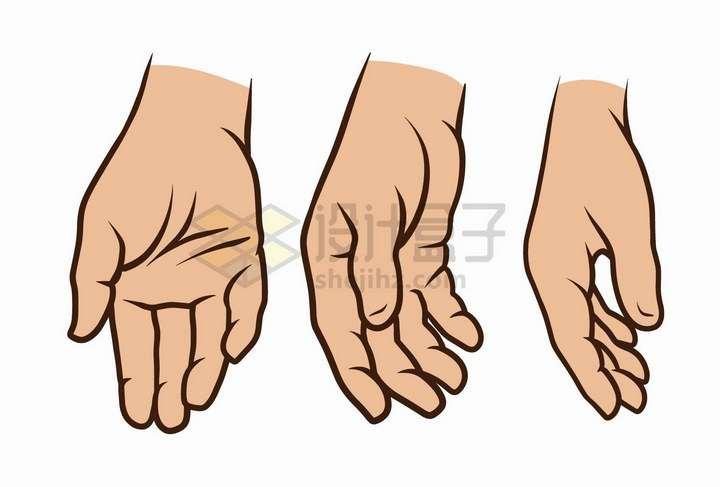 3款彩绘风格下垂的手势png图片免抠矢量素材
