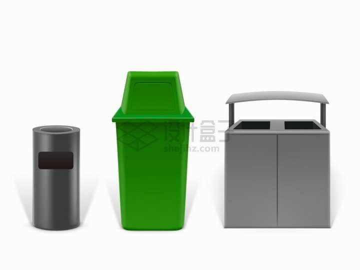 3种款式的户外垃圾箱垃圾桶png图片素材