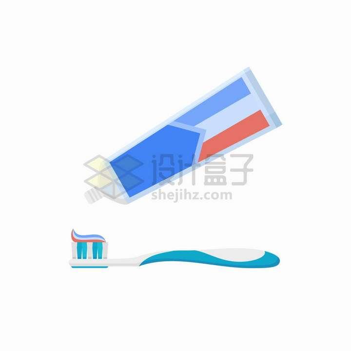 往牙刷上挤牙膏扁平化风格png图片免抠矢量素材
