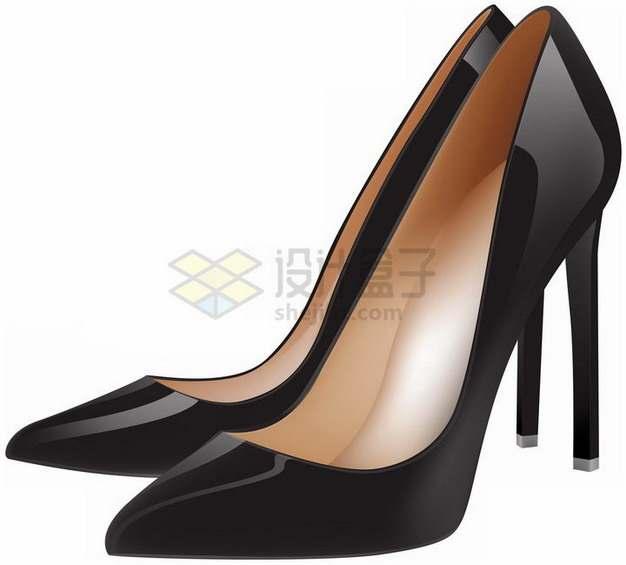 逼真的黑色高跟鞋png图片素材