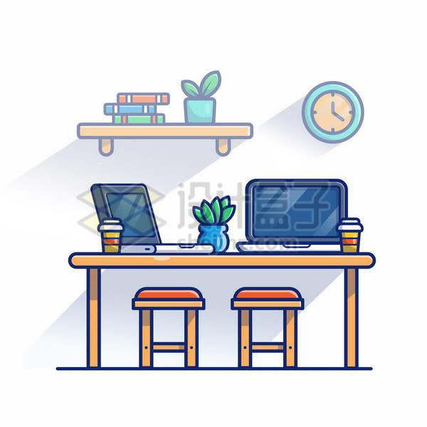 MBE风格双人木头桌子上的笔记本电脑png图片免抠矢量素材