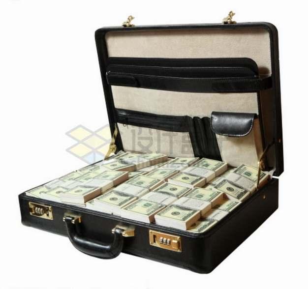 打开的钱箱子中整整齐齐的美元钞票纸币png图片素材