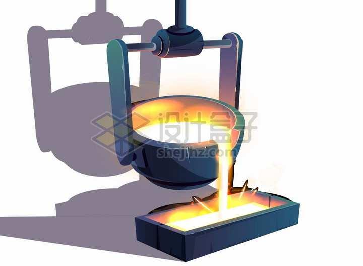 逼真炼钢厂高炉倒铁水png图片素材