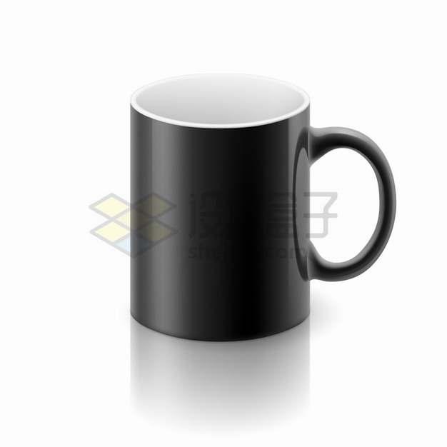 黑色带把手的咖啡杯陶瓷杯马克杯子png图片素材