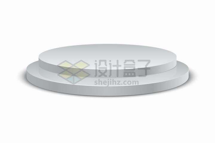 逼真的银灰色圆形展台舞台png图片免抠矢量素材