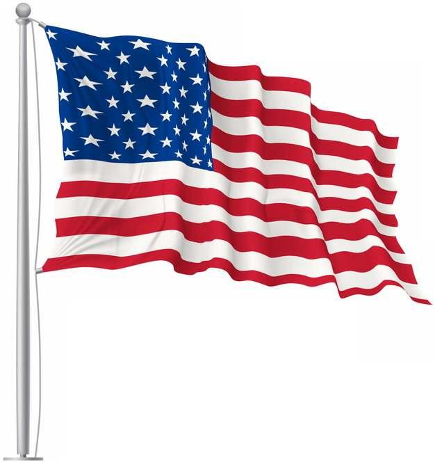 挂在旗杆上飘扬的美国国旗星条旗图案png图片素材