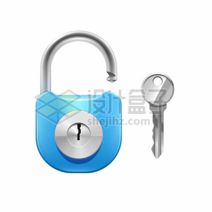 蓝色挂锁和钥匙png图片素材
