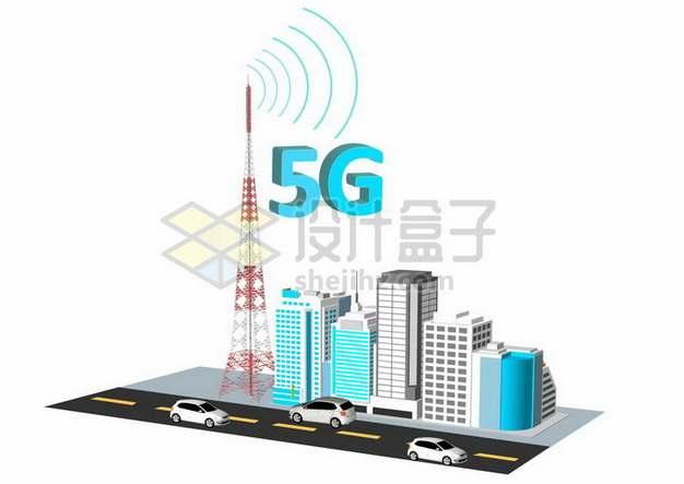 3D风格城市建筑马路和高高的5G信号发射塔png图片素材