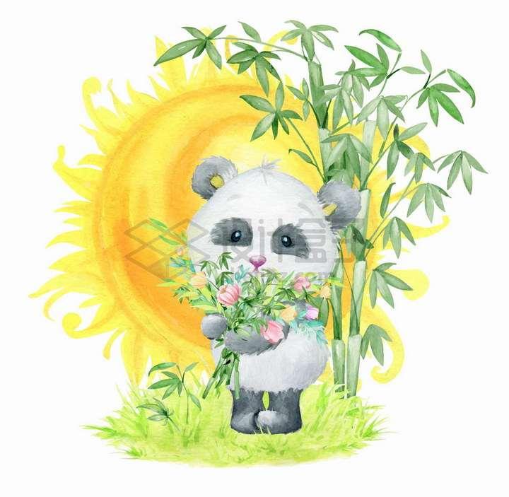 卡通熊猫抱着鲜花和竹子背后是太阳水彩画彩绘png图片免抠矢量素材