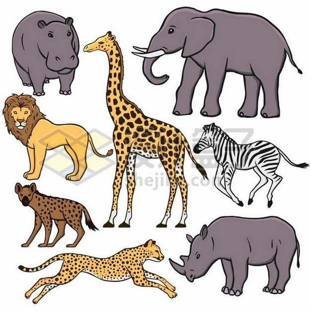 河马大象狮子长颈鹿鬣狗斑马猎豹犀牛等非洲野生动物手绘插画png图片素材