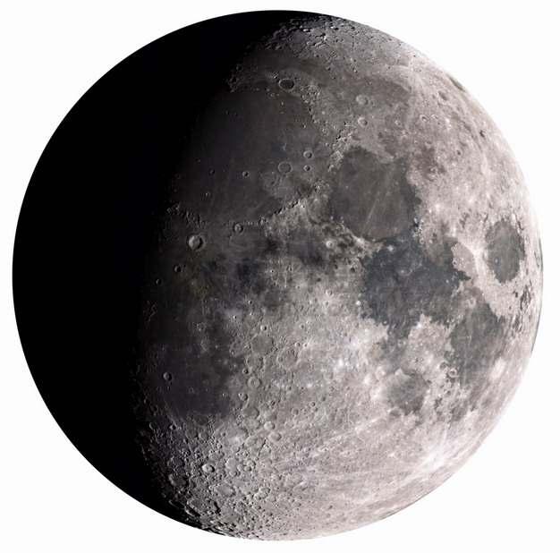 一半被照亮的月球高清照片png图片素材