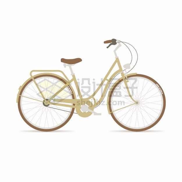 淡褐色的女式自行车侧面图扁平化风格png图片素材