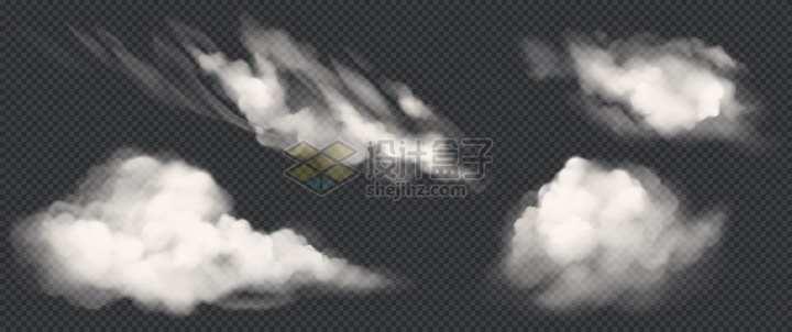 4种风格的白云逼真效果png图片素材