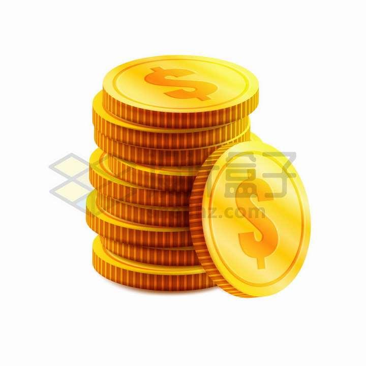 叠加堆放在一起的金币美元符号货币png图片免抠矢量素材