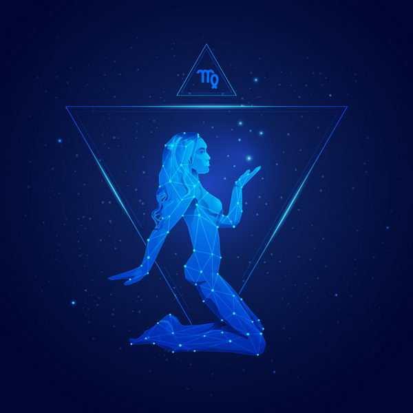蓝色发光点线组成十二星座之处女座png图片免抠矢量素材