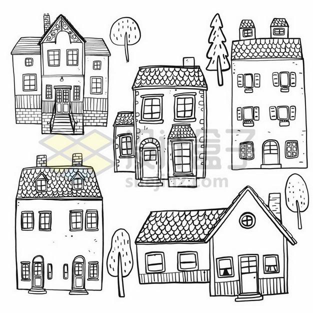 各种乡村小楼房手绘素描简笔画png图片素材 简笔画-第1张