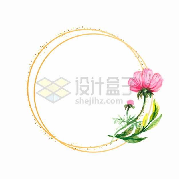 水彩画花朵和金色圆形边框png图片素材43436567