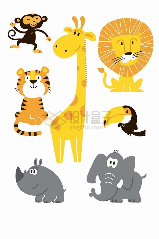 超可爱的猴子老虎长颈鹿狮子巨嘴鸟犀牛大象卡通儿童插画png图片素材