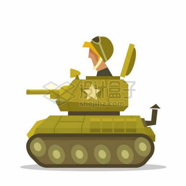 驾驶卡通坦克的士兵png图片免抠矢量素材